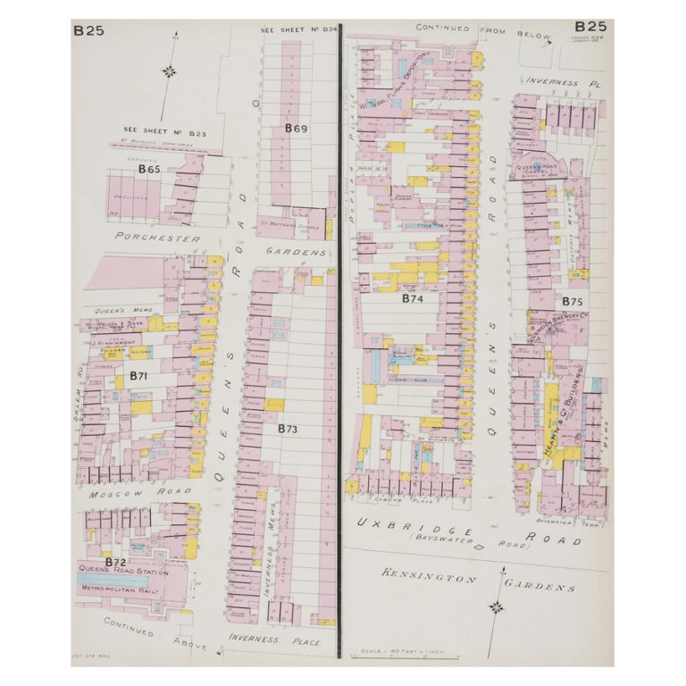 Goad (Charles E.) Fire insurance plan of Queensway in Bayswater