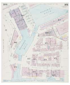 Goad (Charles E.) Fire insurance plan of Western Dock and Hermitage Basin in Wapping