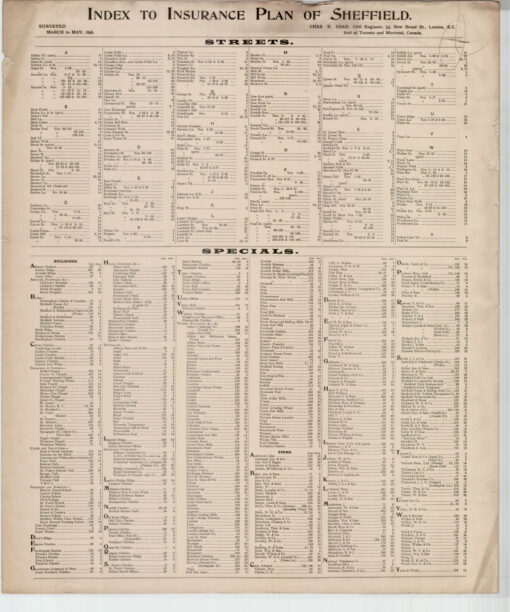 Index to Insurance Plan of Sheffield for March to May 1896 - Goad Old Street