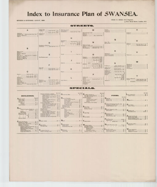 Index to Insurance Plan of Swansea