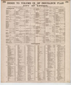 Index to Volume IX of Insurance Plan of the City of London Surveyed December 1888 to March 1889 - Goad Old Street