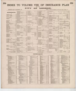 Index to Volume VIII of Insurance Plans of The City of London Surveyed May to November 1888 - Goad Old Street