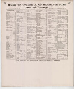 Index to Volume X of Insurance Plan of the City of London Surveyed March to June 1889 - Goad Old Street